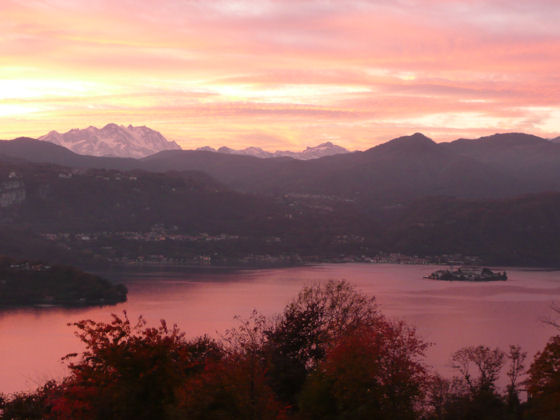 Autumn sunset behind Monte Rosa - taken from Villa Gelsomina