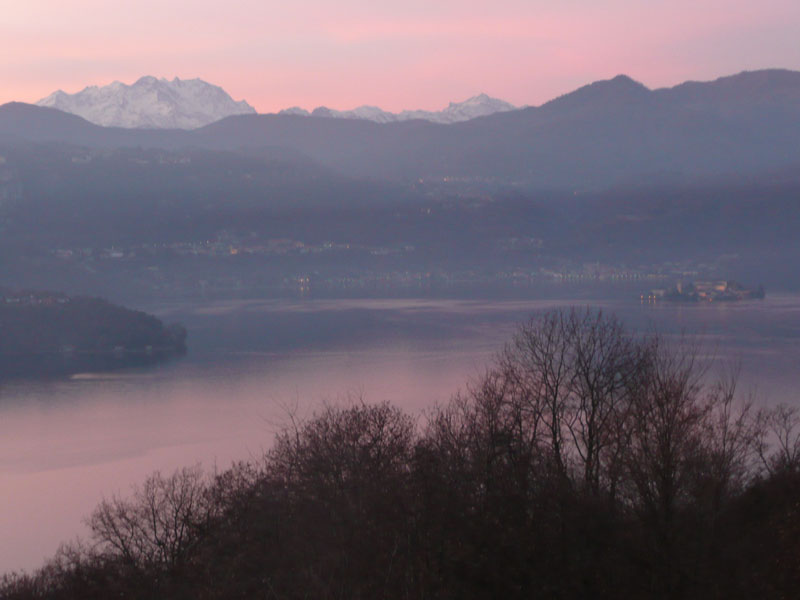 Stunning soft colours of winter sunset, taken from Villa Gelsomina on 1/1/2012