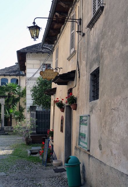 The entrance to the restaurant on the Island of San Giulio.  The terrace of the restaurant is right on the lake!
