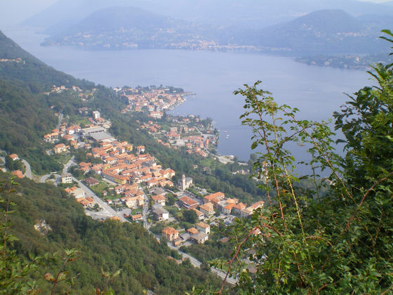 View of the villages of Alzo (in the foreground) and Pella (right on the lake front) from the Madonna del Sasso - photo courtesy of David Hammond