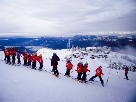 Ski School - with a view of Lake Orta down below!