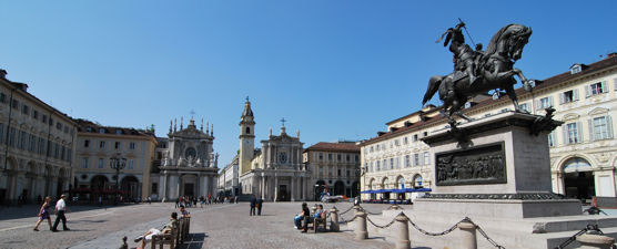 The wonderful Piazza San Carlo, in Turin, the first capital of united Italy