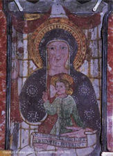 The Madonna del Sangue at the Santuario di Re in the Val Vigezzo.  In the 15th Century, this fresco cried blood after an intoxicated local attacked it.