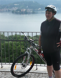 Resting at Alzo during a bike ride around Lake Orta