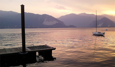 Sunset on Lake Maggiore, the largest of the Italian Lakes